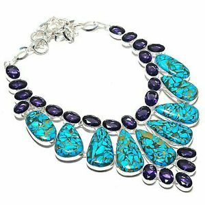 """Copper Turquoise, Amethyst Gemstone 925 Sterling Silver Jewelry Necklace 18"""""""