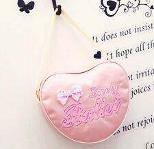 UK SELLER Pretty Lovely Kids Girls Pink BALLET Bag DANCING Shoulder Bag Heart