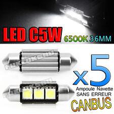 5 AMPOULES NAVETTE LED C5W 36mm 6500k ANTI SANS ERREUR CANBUS PLAFONNIER PLAQUE