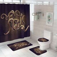 Octopus Shower Curtain Thick Bathroom Rug Set Bath Mat Non-Slip Toilet Lid Cover