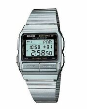 Casio Men's Digital Data Bank World Time Stop Watch, Stainless Steel