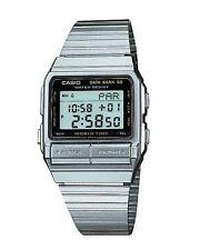 Casio Para Hombre Digital banco de datos mundial de tiempo de parada reloj, Acero Inoxidable