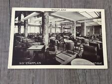 FRENCH LINE OLD POST CARD S.S.CHAMPLAIN SMOKING ROOM Cie Gle TRANSATLANTIQUE