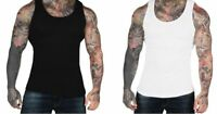 MENS GYM VEST BODYBUILDING MUSCLE RIBBED PLAIN VEST 100% COTTON FITNESS UK
