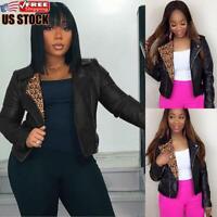 Women's Leopard PU Leather Jacket Ladies Zip Up Biker Blazer Coat Outwear Top
