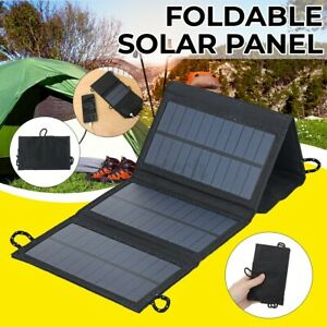 100W USB Solar Panel Folding Power Bank Outdoor Camping Hiking Phone Charger