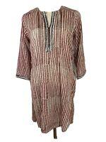 Anokhi Womens Tunic Sz S Red Brown Cotton Blend Dash Stripe Swimwear Coverup