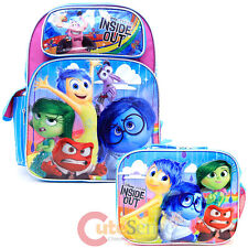 "Disney Inside Out 16"" Large School Backpack Lunch Bag 2pc Set -Emotion Rain Pink"