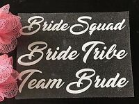 Bride Bride Squad Bridesmaid Glittery Hen Party Iron on T-shirts transfer Vinyl