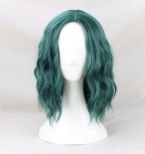 Women's Polaris Cosplay wig Short Bob Wavy Curly dark green hair wig + a wig cap