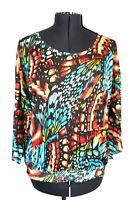 Chico's 3 Women's (L 16) Elastic waist Butterfly Top Sparkle, Blue, Yellow Black