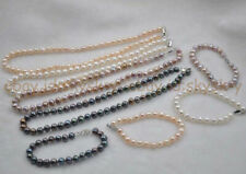 "Wholesale 4 sets 7-8mm fresh water real pearl Necklaces Bracelets Set 18"" & 7.5"""