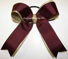 Cheer Bow Pony Ponytail Maroon Gold Wine Burgundy FSU MSU Cheerleader Bulk Price