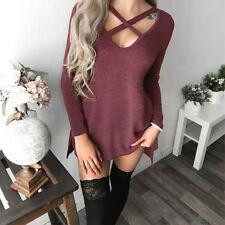 Womens Choker V Neck Long Top T-shirt Ladies Casual Party Mini Dress Blouse#
