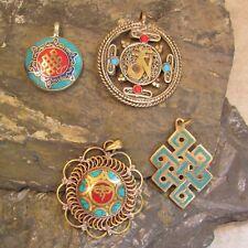 Lot of 4 Tibetan Nepali Handmade Ethnic Antiqued Brass Mixed Symbol Pendants