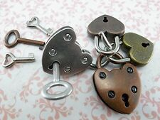 Antique Style Small Padlock Key Lock Heart Shaped (Assorted color) 4 pcs