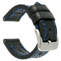 22mm NEW COW Leather Strap Black Watch Band for fits PANERAI Blue x1