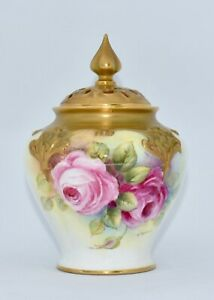 1954 Royal Worcester Potpourri Vase Hand Painted Roses Signed J Tansell 279/H