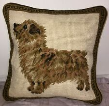 """Brand New Norwich Terrier Dog 100% Wool Needlepoint Pillow 10"""" by 10"""""""