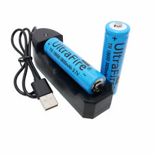 2X 18650 Battery 3800mAh 3.7V Rechargeable Li-ion and USB Charger For Flashlight