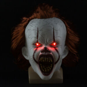 Clown Mask Pennywise Mask Full Head Halloween Cosplay Scary with LED