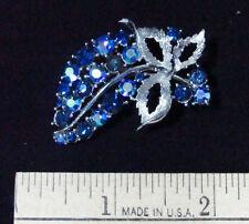 Brooch Grapes Cluster Leaves Blue Aurora Borealis Pin Rhinestone Vintage Jewelry