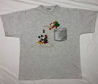Vtg 90s Disney Mickey Mouse Donald Duck Christmas Mens XL S/S T-Shirt C9