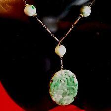 "Art Nouveau Antique Chinese Curved Jade Pendant & Beads Lavaliere Necklace 15"" L"
