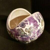 Vintage McCoy Globe Vase Half-moon Iridescent Vase Planter Mint