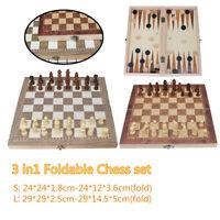 Large Folding wooden Chess Set Standard Chess Board Game Backgammon