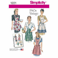S1221 Simplicity 1221 SEWING PATTERN Vintage Style 1940s  Aprons Retro
