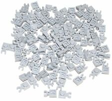 Lego Lot of 100 New Light Bluish Gray Plates Modified 1 x 1 with Clip Vertical