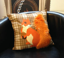 Brown Check with Orange Squirrel + Fur Tail Design Evans Lichfield Cushion Cover