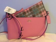 Coach East/West Shadow Plaid Print Crossbody Bag with Pop Up Pouch Lilac 22252
