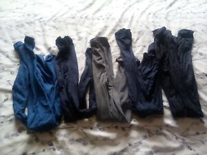 BUNDLE 5 PAIRS OF COLOURED OPAQUE TIGHTS 12 14 MEDIUM blue navy grey black