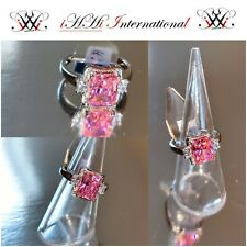 9Ct White Gold on Sterling Silver 925S 3.05Ct Ceylonite Pink Spinel & Topaz Ring