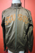 STUSSY TRACK JACKET SWEATER MENS SIZE XL FZ FULL ZIP CHOCOLATE BROWN SPELL OUT