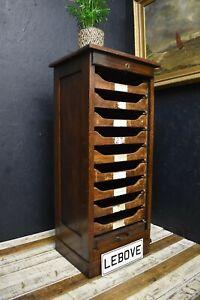 Vintage Antique Oak Tambour haberdashery Filing Cabinet