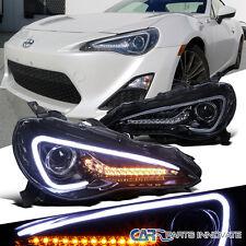 Glossy Black 12-17 Scion FR-S Toyota 86 LED Strip Projector Headlight+LED Signal