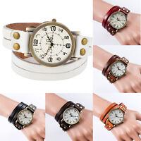 Women's Fashion Leather Watches Retro Punk Wrap Bracelet Watch Quartz Wristwatch