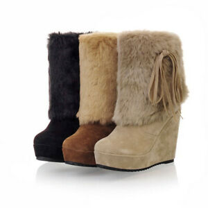Women Ankle Boot Fur Lined High Heel Booties  Winter Warm Platform Shoes Pull On