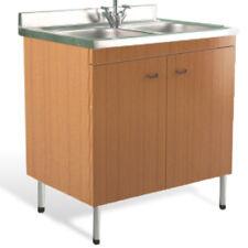 Mobile cucina color teak lavello acciaio inox 80x50 cm lavello doppia vasca
