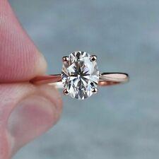 14k Rose Gold Wedding Engagement Rings 3.00Ct Oval Cut Genuine Moissanite Rings