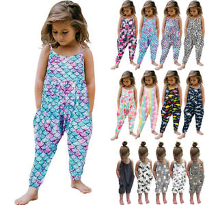 Toddler Kids Baby Girls Sleeveless Suspenders Trousers Jumpsuit Romper Outfits