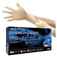 MicroFlex Diamond Grip Powder-Free Latex Examination 100 Gloves Large MF-300-L