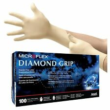 MicroFlex Diamond Grip Powder-Free Latex Examination 100 Gloves Large MF-300-L