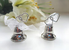 108 Silver Place Card Holders TWO HEARTS Wedding BELL RING FOR A KISS wholesale