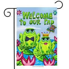 "Frog Couple Welcome Garden Flag Butterflies Lily pads Summer Ponds 12.5""x18"""