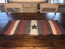 NEW PriMiTivE Rag Quilt Table Runner Americana 4th of July Red Blue Tan Striped