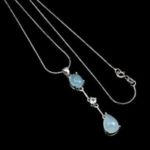 Unheated Pear Aquamarine 10x7mm White Gold Plate 925 Sterling Silver Necklace 18